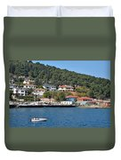 Marina Bay Scene With Boat And Houses On Hills Duvet Cover