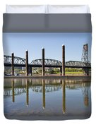 Marina By Willamette River In Portland Oregon Duvet Cover