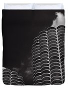 Marina City Morning B W Duvet Cover by Steve Gadomski