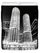 Marina City Towers At Night Black And White Picture Duvet Cover