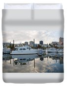 Marina On Willamette River In Portland Oregon Downtown Duvet Cover