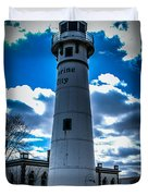Marine City Michigan Lighthouse Duvet Cover