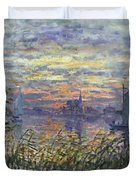 Marine View With A Sunset Duvet Cover