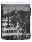 Mark Twain Riverboat Frontierland Disneyland Vertical Bw Duvet Cover