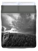 Marker - Black And White Photo Of Stone Marker And Brewing Storm In Kansas Duvet Cover