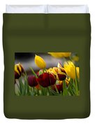 Maroon And Gold Tulips Duvet Cover