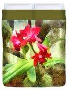 Maroon Cattleya Orchids Duvet Cover