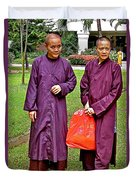 Maroon-robed Monks At Buddhist University In Chiang Mai-thailand Duvet Cover