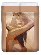 Marquetry Wood Work The Lady Duvet Cover