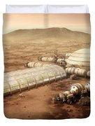 Mars Settlement With Farm Duvet Cover