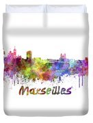 Marseilles Skyline In Watercolor Duvet Cover