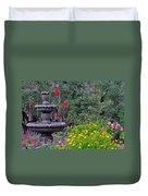 Garden Fountain And Flowers Duvet Cover