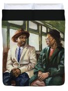Martin And Rosa Up Front Duvet Cover by Colin Bootman