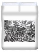 Martin Luther 1483 1546 Writing On The Church Door At Wittenberg In 1517 Duvet Cover