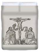 Martin Luther And Frederick IIi Of Saxony Kneeling Before Christ On The Cross Duvet Cover