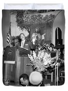 Martin Luther King Jnr 1929 1968 American Black Civil Rights Campaigner In The Pulpit Duvet Cover