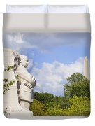 Martin Luther King Jr Memorial And The Washington Monument Duvet Cover