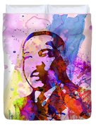 Martin Luther King Jr Watercolor Duvet Cover by Naxart Studio