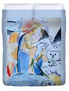 Mary And Gabriel Duvet Cover