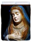Mary In Manger Duvet Cover