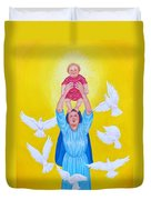 Mary Offers Her Child Jesus To His Father Duvet Cover