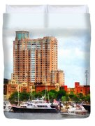 Maryland - Boats At Inner Harbor Baltimore Md Duvet Cover
