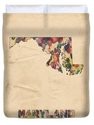 Maryland Map Vintage Watercolor Duvet Cover