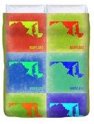 Maryland Pop Art Map 2 Duvet Cover