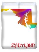Maryland State Map Collection 2 Duvet Cover