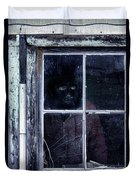 Masked Man Looking Out Window Duvet Cover