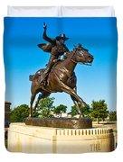 Masked Rider Statue Duvet Cover
