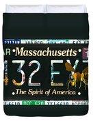 Massachusetts License Plate Duvet Cover
