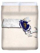 Massachusetts Map Art With Flag Design Duvet Cover