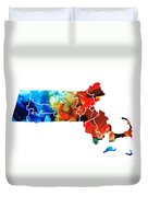 Massachusetts - Map Counties By Sharon Cummings Duvet Cover by Sharon Cummings