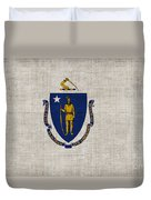 Massachusetts State Flag Duvet Cover by Pixel Chimp