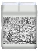 Massacre Of Christian Missionaries Duvet Cover by Theodore De Bry