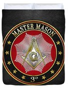 Master Mason - 3rd Degree Square And Compasses Jewel On Black Leather Duvet Cover