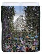Matterhorn Mountain With Tea Cups At Disneyland Duvet Cover