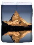 Matterhorn Reflected In Riffelsee Lake  Duvet Cover