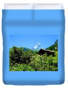 Matterhorn With Mountain Chalet Duvet Cover