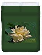 Mature Lotus Flower And Cute Hovering Honeybee Duvet Cover