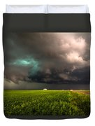 May Thunderstorm - Storm Twists Over House On Colorado Plains Duvet Cover