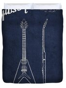 Mccarty Gibson Electric Guitar Patent Drawing From 1958 - Navy Blue Duvet Cover