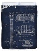 Mccarty Gibson Les Paul Guitar Patent Drawing From 1955 - Navy Blue Duvet Cover