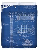 Mccarty Gibson Les Paul Guitar Patent Drawing From 1955 - Bluepr Duvet Cover