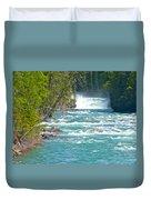 Mcdonald Creek Falls In Glacier Np-mt Duvet Cover