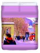 Mcgill Campus Eager Students Enter Roddick Gates Montreal Collectible Art Prints Carole Spandau  Duvet Cover