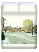 Mcgill University Campus Sherbrooke Street Scene Early Morning Winter Day Montreal Carole Spandau Duvet Cover
