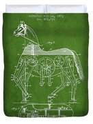 Mechanical Horse Patent Drawing From 1893 - Green Duvet Cover