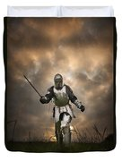 Medieval Knight In Armour On The Attack Duvet Cover